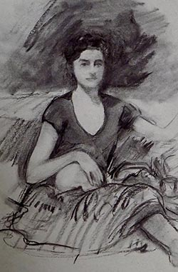 Celia with Skull, Charcoal Drawing on Paper by A.C. Sprague